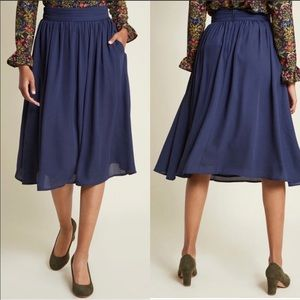 ModCloth Navy Chiffon Flirty Midi Skirt